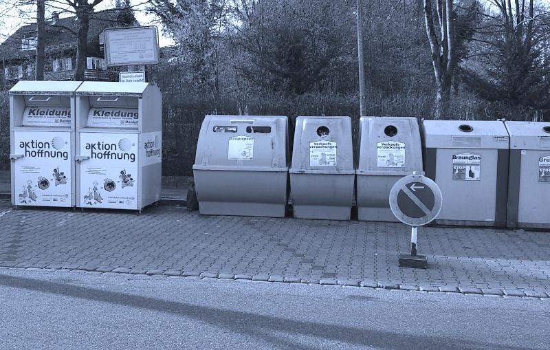 Abbildung der Entsorgungscontainer einer Kommune bei Entsorgungsdelikten